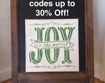 """Joy to the World / Hand painted Sign / Christmas Sign / 12"""" x 12"""" Annie Sloan Old White Chalk Paint and Various Green Acrylics"""