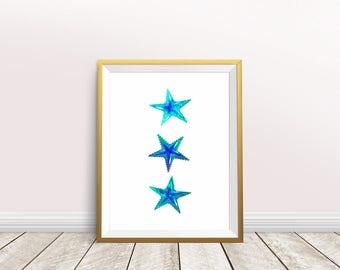 Starfish Wall Art, Starfish Painting,Nursery decor,Starfish art,Instant download,Printable Starfish,Sea life art,Beach art,Starfish print