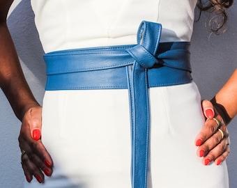 Blue Leather Obi Belt | Wedding Sash Belt | Leather tie belt | Real Leather Belt| Handmade Belt