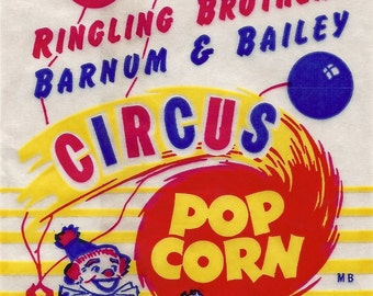 Ringling Bros. Barnum and Bailey Vintage Circus Popcorn Bag, 1950's