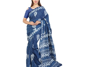 Hand block cotton mulmal soft indigo Saree