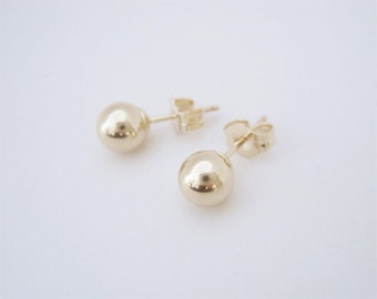 Medium Size Gold Filled Ball Earrings, Gold Ball Earrings