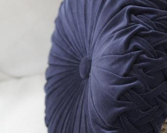 Dusty Blue (Indigo) Vintage Style Velvet Cushion