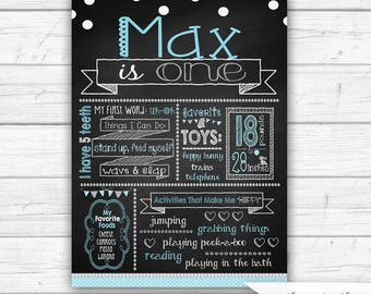 Some Bunny is One First Birthday Chalkboard Sign, Boy's Bunny Birthday Personalized Chalkboard Poster, Blue and Gray, Printed or Printable