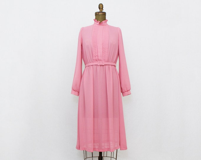 Vintage 1970s Sheer Pink Secretary Dress - Size Medium