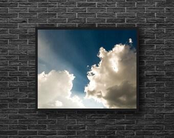 Sky Photography - Clouds Photography - Blue Sky - White Clouds - Sky Photo Print - Dreamy Sky - Blue White Wall Decor - Kids Room Decor