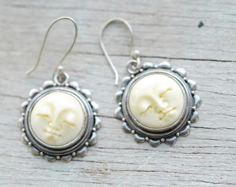 Sterling Silver Carved Sun Round Drop Earring Carved Bone Carved Moon Face Sun Face Earrings Eggshell Sun Face Astral Sculpture Earrings