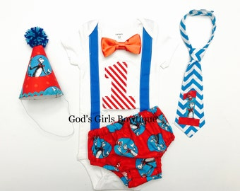 Dr Seuss Cat in the Hat 1st Birthday Smash Cake Party Outfit Bow Tie Onesie Baby Toddler Boys Shirt Onesie Bottoms Personalized See Options