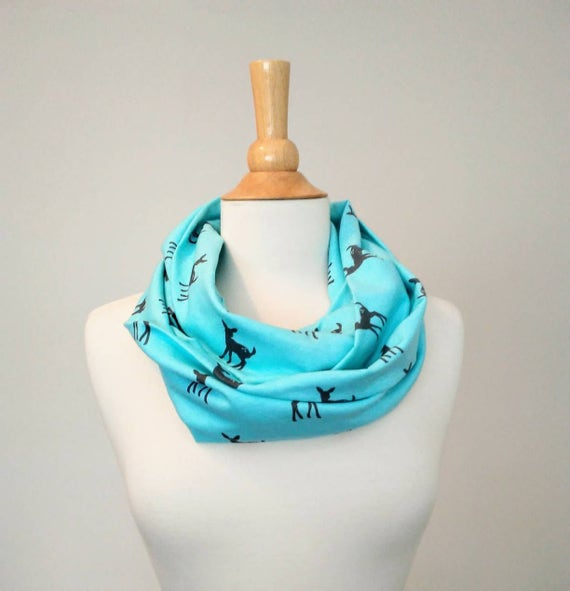 Aqua deer infinity scarf woodland animal print fawn holiday scarf gift for her stocking stuffer circle scarf winter accessories mint grey