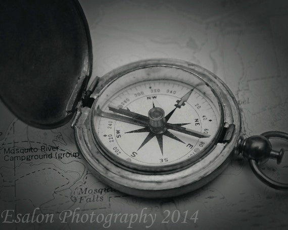 Items Similar To Photograph Of Old Vintage US Compass On Map This Is An Original Black And White Or Sepia Print Mounted Etsy