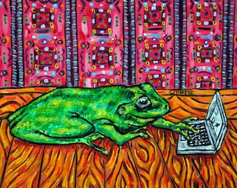 TILE- frog art,tile,coaster,gift.modern folk art,working on a laptop ,frog tile,coaster, gift