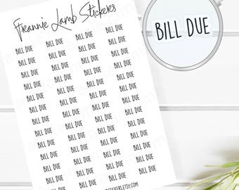Bill Due Planner Stickers (COLOR OPTIONS), 52 Clear Matte Stickers, Planner Stickers, Text Stickers, See Through Stickers, Labels