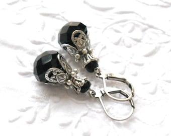 black victorian earrings filigree earrings black earrings vintage style black earrings black jewelry crystal earrings victorian inspired