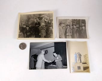 4 Vintage Photos of Men, Formal Business, Suit and Tie, Horseback Riding in Smokeys, Sepia and Black White