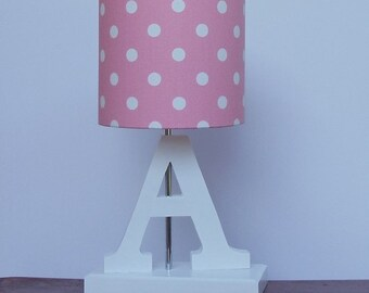 Pink lamp etsy handmade small pink with white polka dot drum lamp shade great for nursery or girls aloadofball Images