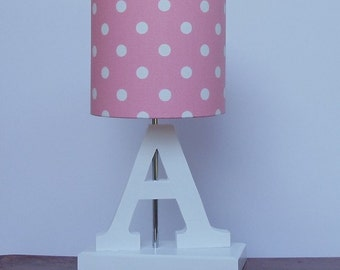 Nursery lamp shade etsy handmade small pink with white polka dot drum lamp shade great for nursery or girls room aloadofball Choice Image