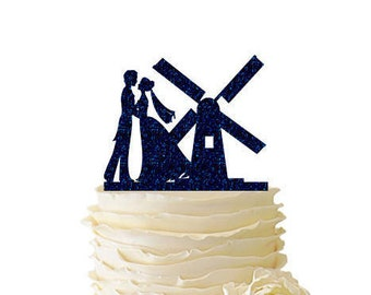 Glitter Dancing Couple with Windmill - Wedding - Bridal Shower - Engagement - Acrylic Special Event Cake Topper - 166
