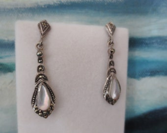 Vintage Marcasite Sterling Silver Earrings Mother of Pearl Drop Dangle Pierced Antique Look