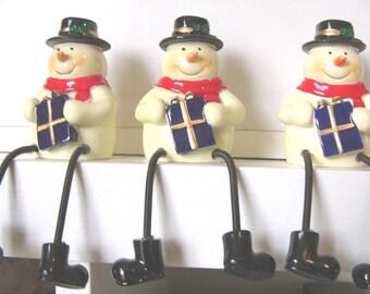 Shelf Sitters Snowman Set of 3 Christmas snowmen decoration Ornament Xmas gift