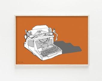 """typewriter art, typewriter print, vintage typewriter, mid century modern art, mid century modern wall art, print - """"Sketchbook Typewriter"""""""