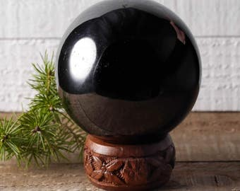 One XL Jet Sphere Stone with Base - Polished Stone, Healing Crystal Sphere, Black Amber Black Stone, Petrified Wood, Root Chakra Stone E0339