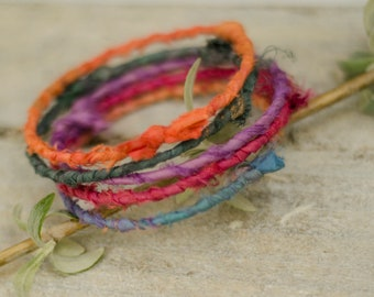 Set of 5 bangles Silk multicoloured bracelets Stacking bracelet colorful Ethnic tattered textile cuff Bohemian wrist wrap ragged fabric