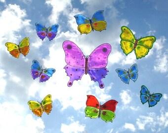 Colorful Butterflies Set of 10- Window Art suncatcher clings, decals