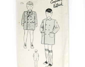 1940s Vintage Sewing Pattern / Boy's Double-Breasted Topcoat / Companion Butterick 2205 / FF / Toddlers Size 2