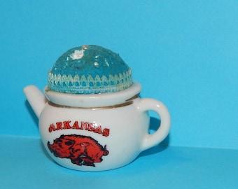 Vintage Arkansas Razorback Teapot Pin Cushion Souvenir