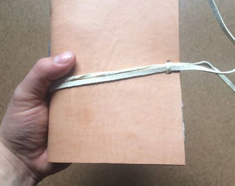 4.5x7 inch tan leather journal, tough journal, leather notebook, leather journal, handmade paper, recycled paper, homemade paper