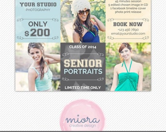 Senior Portraits Mini Session Photoshop Template for Photographer - Photography Marketing Material - INSTANT DOWNLOAD - MS009