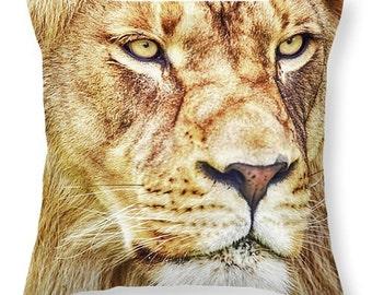 Lion King of the Jungle Throw Pillow, Decorative Pillow Cover, Decorative Pillow, Pillows, Animal Pillow, Lion Pillow, Lumbar Pillow, Gold,