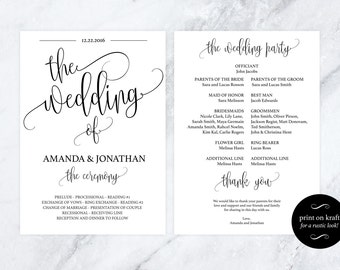 Wedding Program Template - Kraft Paper Program - Printable Wedding Program - DIY Wedding Programs - Downloadable wedding #WDH301_14