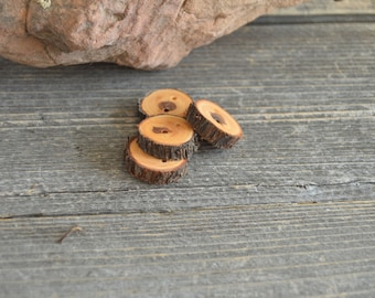 4 wooden buttons- Juniper, handmade buttons (2038)