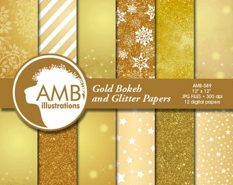 Gold Bokeh digital papers, Gold glitter papers, Gold scrapbook papers, Golden Papers, Commercial Use, AMB-589