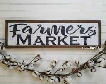 Farmers Market Sign - Wood Sign - Wooden Sign - Farmhouse Style - Kitchen Sign - Farmhouse Sign - Rustic Sign - Farmhouse - Country Decor