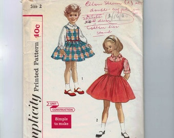 1950s Vintage Sewing Pattern Simplicity 2209 Girls Blouse and Jumper Dress Full Skirt Size 2 Breast 21 50s