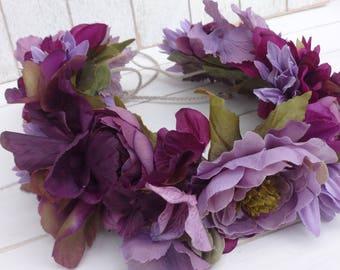 Adult Flower Crown, Bridal Flower Crown, Flower Crown, Tieback Flower Crown, Flower Halo, Bridesmaid Floral Crown, Bridal Floral Crown, Prop