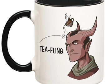 Tea-Fling Mug, Tiefling Mug, Funny Tiefling Mug, Tiefling Parody Mug, Dungeons And Dragons Mugs, DnD Coffee Mugs, Role Playing Mug, RPG Mug