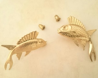 Fish Stud Earrings Gold Brass Earrings
