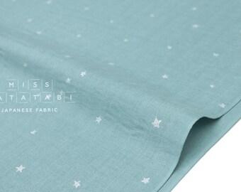Japanese Fabric - Kobayashi starry double gauze -  blue, metallic silver - 50cm