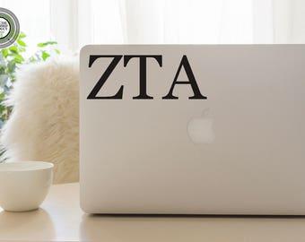 Zeta Tau Alpha Decal - ZTA - Zeta Decal - ZTA Laptop Sticker - Zeta Tau Alpha Car Decal - Gift for Little - Gift for Big - Zeta Laptop Decal