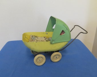 Antique Doll Pram - Metal Doll Carriage - Small Metal Doll Buggy