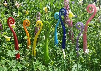 One Blown Glass Fiddle Stix, 14 inch Fiddle Head Fern Plant Stakes for the Garden FREE SHIPPING