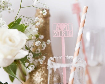 Personalised Save The Date Cocktail Stirrers - Drink Stirrers - Bar Accessories - Swizzle Sticks - Bridal Shower Favour - Custom Wedding