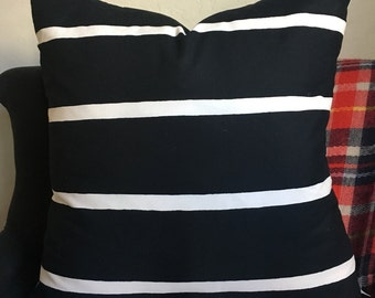 "Black with white stripes soft cotton pillow cover/ modern/ 22"" pillow"