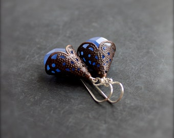 Blue Chalcedony Brown Patina Dangle Drop Earrings Filigree Sterling Silver Stone Boho Jewellery