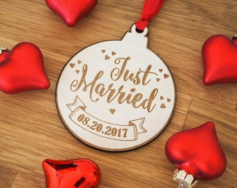 Just Married Ornament - Wedding Decor - Personalized Wedding Ornament - Newlywed Gift - Ornament Married - Wedding Gift - Personalized Gift