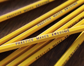 Practice Makes Awesome Pencil 6 Pack Yellow, funny stocking gift, motivational pencils, funny pencils, Engraved Pencil Set, tv show quotes