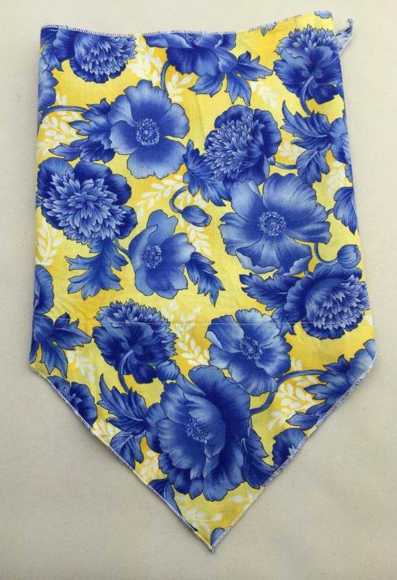 Blue Flower Print on Yellow Cotton Bandana w/ Hidden Pocket